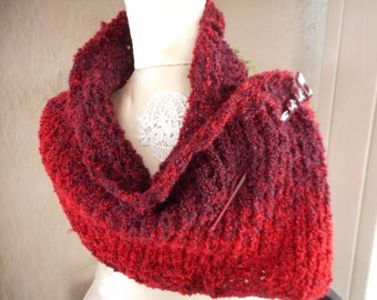 Hand Knit Cowl, Red Cowl, Red, Hand Knit Scarf, Infinity