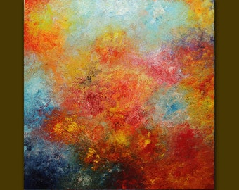 Acrylic painting Abstract,red,yellow,blue palette knife.