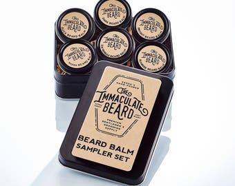 Beard Balm Sample Set, immaculate, beard oil gift set, beard care, beard conditioner, beard gift, beard set, beard balm, Father gift, dad