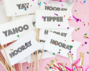 25 Wedding Flags/ Yay Flags/ Wedding Decor/ Bridal Shower Flags/ Wedding Party Flags/ Celebration Flags/ Hooray Flags/ Party Flags