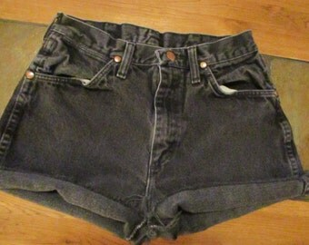 "Wrangler Vintage CUTOFF JEAN SHORTS Cut Off W 27 Measured Hot Pants High Waisted black size 27"" waist"