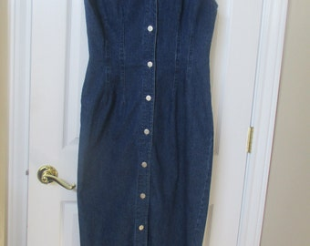 Womens denim dress size Medium Le Voy's pencil dress vtg 80's / 90's denim dress