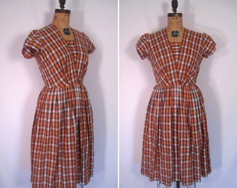 1940s 1950s orange gingham floral summer dress • 40s 50s plaid print day dress • vintage taking a ride dress