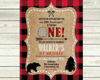 12 Lumberjack Birthday Party Invitations - Lumber Jack Invitation -1st birthday- any age- any colors