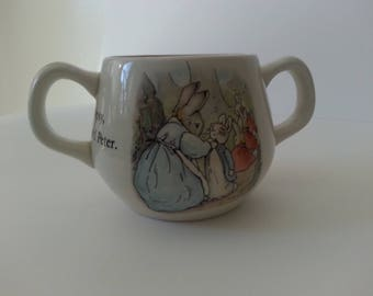 Wedgwood PETER RABBIT Nurseryware/ Double Handled Childs Cup/Mug