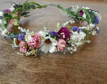 wedding hair accessories, bridal head crown, bridal hair flower, dried flower crown, hair crown, wild flower, dried headpiece, ready to ship