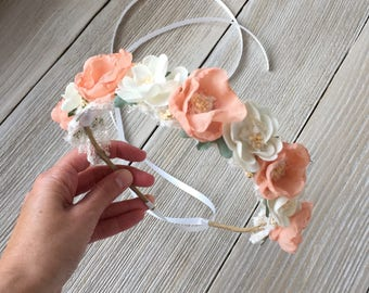 Peach, Coral, Ivory Wired Floral Crown Halo - Bridal, Maternity, or Child Photo Prop - Ready to Ship