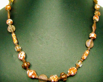Mixed Speckled Copper Pressed Glass Beaded Necklace with Copper Accents - Item 287