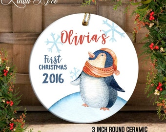 Personalized Baby's First Christmas Ornament, Personalized Baby Ornament, Baby Shower Gift, Baby Girl Boy, Christmas Penguin Ornament OCH77