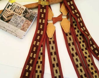 Vintage Paris Suspenders, fabulous style,  unisex,browns and gold, brass hardware