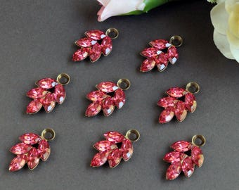 Swarovski Crystal Rhinestone Pink Leaf Drop Charms, Oxidized Brass Settings (2)