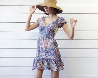 Vintage semi sheer purple floral print pure silk see through tunic mini dress XS