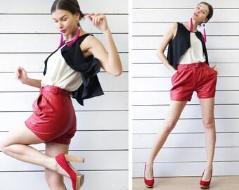 Vintage lipstick red genuine leather high waist short hot pant mini shorts XS
