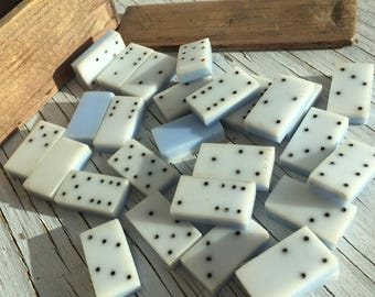 Vintage set of dominoes in a wonderful vintage wooden box, both may be hand-made.