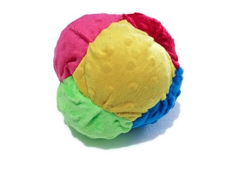 Plush Toy Bisket Ball for Babies or Toddlers with noisemaker inside - Soft Toy - Multicolored Ball - Ready to Ship