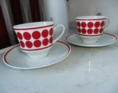 Vintage Set of two Mod coffee cups and saucers - 100 Jahre Bareuther Waldsassen Bavaria - Germany