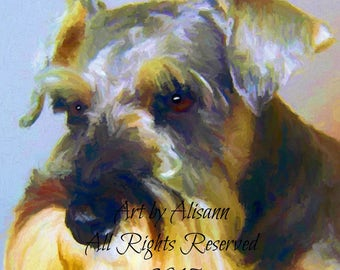Affordable Custom Dog Portraits - You send me your Photos - I create the portrait.Schnauzer - I love dogs!