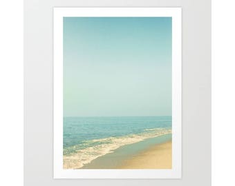 Beach art, beach prints, beach print, beach photography, large wall art, nature photography, ocean print, blue pastel, beach canvas wall art