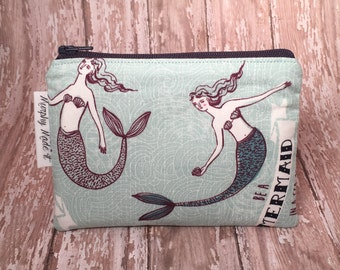 Mermaid fabric coin purse, coin pouch, change purse, small zipper pouch, gadget case, passport holder, gift for her, stocking stuffer