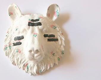 FUNFETTI Small Faux Taxidermy Bear Head wall mount / custom bear / CHOOSE your OWN Color Funfetti / White mini bear wall hanging gift