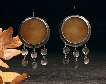 Agate Panel Earrings with hammered discs