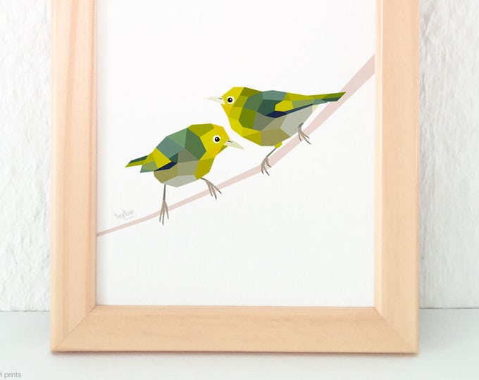Silvereye pair, Waxeye pair, Slender-billed White-eye, New Zealand birds, New Zealand art, Kiwi art, New Zealand garden birds, Tinykiwi art
