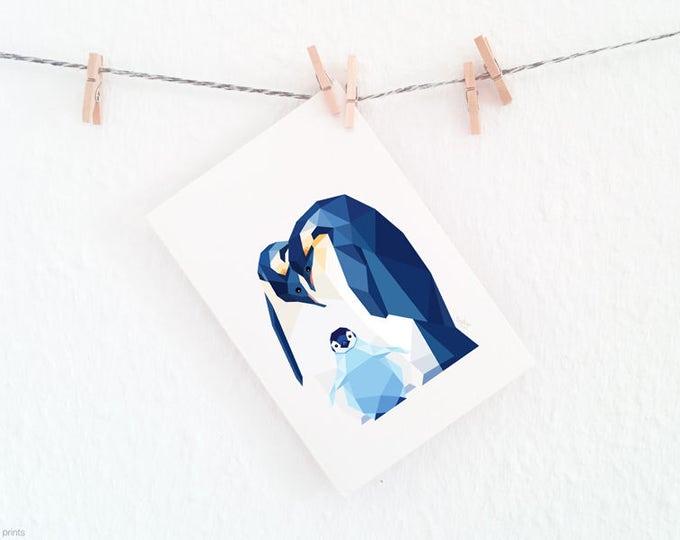 Penguin print, Penguin baby, Nursery art, Animal family art, Baby nursery decor, Geometric print, Baby animals, Antarctic, Cute baby room