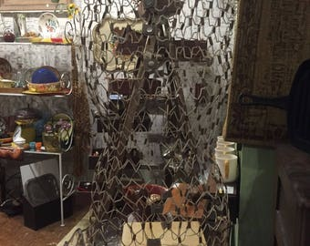 Vintage antique wire mesh dress form jewelry display steam punk industrial adjustable free shipping