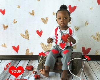 Valentines Day Baby Boy Tie Suspender Bodysuit - Boys Valentines Bodysuit, Valentines Photo, Knee Pants, Heart Tie, Be my Valentine Plaid