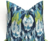 15% Off Sale Decorative Pillows Blue Throw Pillow Covers - Blue Green Pillow -  Burlap Pillow - Ikat Pillow - Pillow Shams - Pillow Covers 2