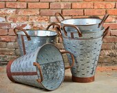 Olive Bucket - Extra Large - Olive Basket - Great Quality - Metal Basket - Rusted Bucket - Planter