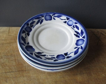 4 vintage french saucers, Saint-Amand, 1930, Blue saucer, Home decor, Antique kitchen, Soucoupes