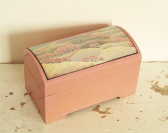 Vintage french wooden jewelry box, 1980, Boite bijoux bois ancienne, France, Pink, Naif, Girl