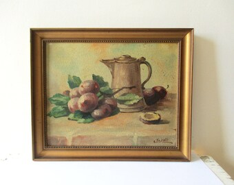 Vintage italian oil painting on cardboard with frame, 1920-1940, Antique Still life, Fruits, Signed, Italy, Huile, Peinture, Nature morte