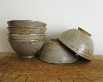 6 vintage french pottery bowls signed, 1960, Cup, Mug, Bowl, Tasses, Poterie, Grès, Bols, France