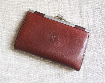 Vintage french coin purse, Claude Gerard Paris, 1960-1970, Brown leather, Porte-monnaie, France