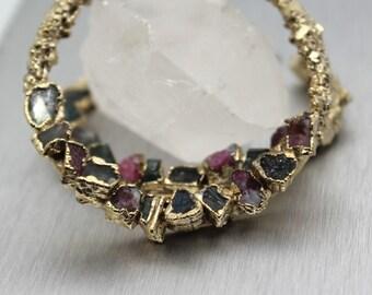SALE tourmaline earrings, gold earrings, druzy earrings, raw tourmaline, tourmaline crystal, tourmaline hoops, hoop earrings,gold hoops