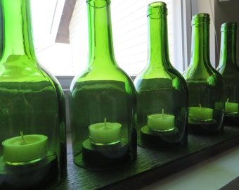 Recycled Wine Bottle Candle Holder Centerpiece