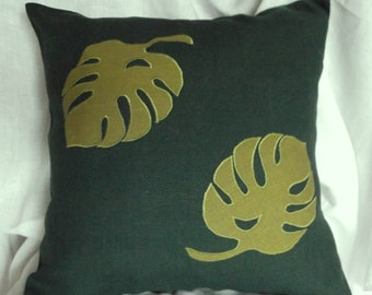"Decorative throw green linen pillow case wit monster leaves cushion cover 18"" x 18"""