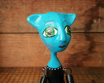 Lulu the blue Alien OOAK paperclay hinged Art Doll