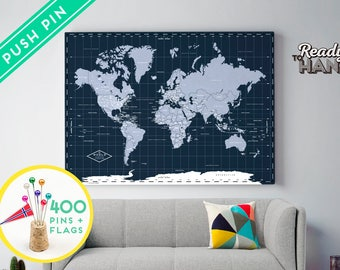 Push Pin World Map Canvas Navy - Ready to Hang -  240 Pins + 198 World Flag Sticker Pack Included - Gift for travel