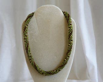 Green, Amber and White Crotchet Beaded Necklace