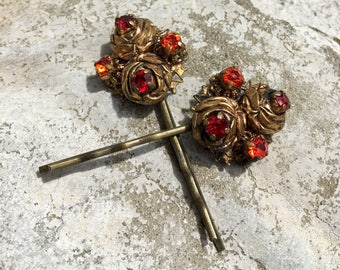 Renaissance Bridal Decorative Hair Pins 1930 1940 Wedding Red Orange AB Rhinestone Filigree Hairpins Bobby Pins