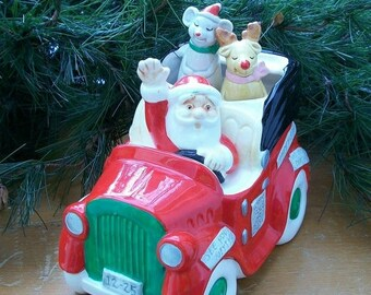 ON SALE Vintage Christmas Enesco Japan Santa in a Car Music Box Musical Animated Reindeer and Mouse Ceramic