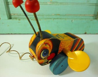 Vintage Fisher Price Buzzy Bee Bumblebee Pull Toy