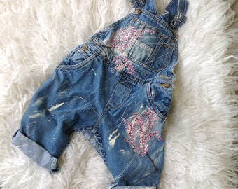 Baby Denim overall hanpainted