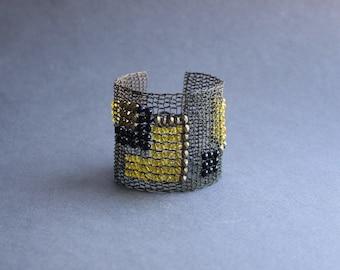 Wide Avant-Guard Statement Geometric Copper Wire Crocheted Cuff Bracelet - Art Yellow Black Beaded Bracelet - Art Deco Unique Bracelet