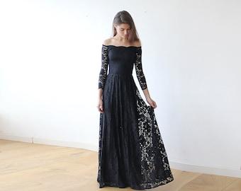 Off-The-Shoulder Black Floral Lace Long Sleeve Maxi Dress 1119