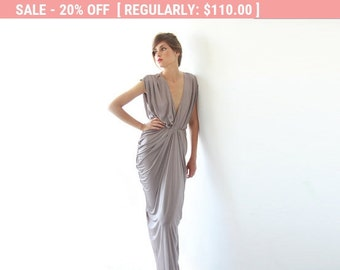 20% OFF Maxi bridesmaids taupe dress , Bridesmaids short sleeves maxi gown, Taupe maxi dress 1008