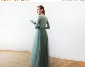 Spring Sale Sage green maxi length tulle gown with long sleeves , Green sage bridesmaids tulle gown 1066